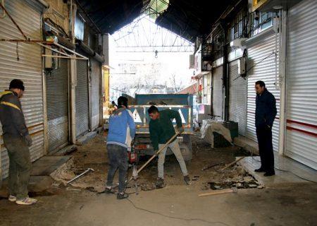 عملیات ساماندهی و کفسازی بازارچه گجیل توسط شهرداری منطقه ۴ تبریز آغاز شد