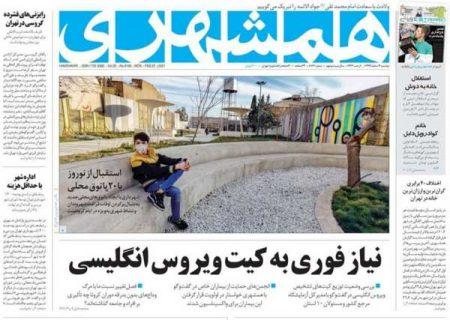 عناوین روزنامه های دوشنبه ۴ اسفند