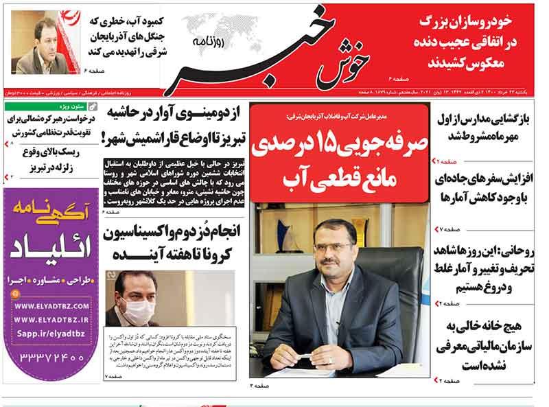 عناوین مطبوعات آذربایجان شرقی ۲۳ خرداد