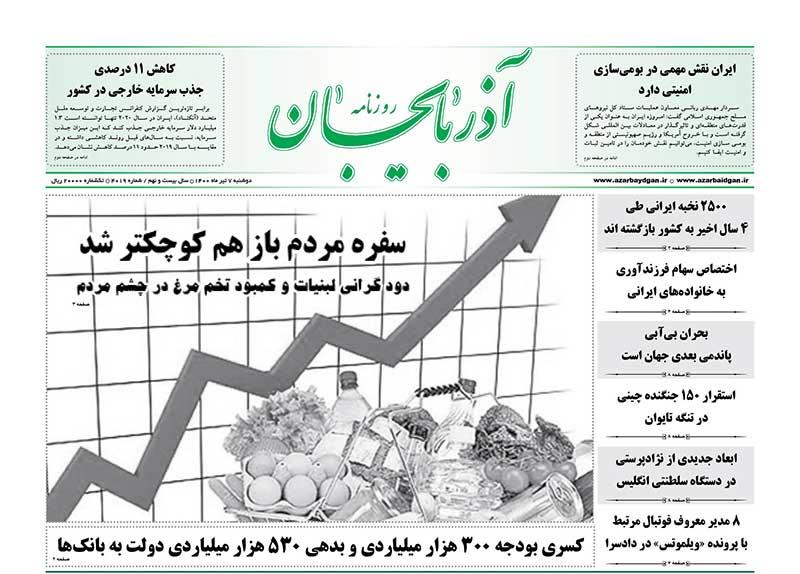 عناوین مطبوعات آذربایجان شرقی ۷ تیر