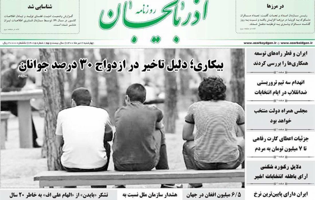 عناوین مطبوعات آذربایجان شرقی ۲ تیر
