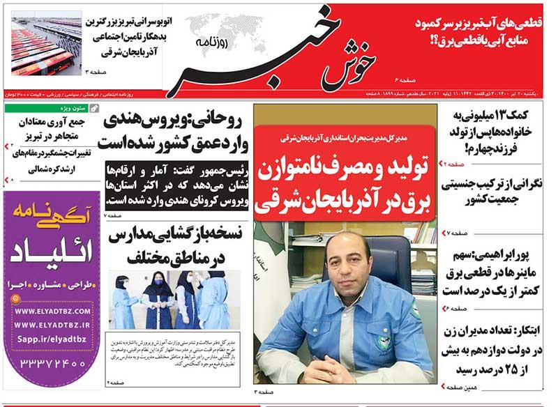 عناوین مطبوعات آذربایجان شرقی ۲۰ تیر